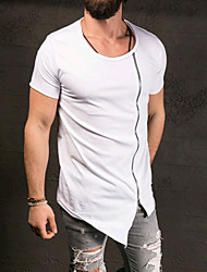 Men's Sports Formal Casual/Daily Going out Simple Active Spring Fall T-shirt,Solid Round Neck Short Sleeves Cotton Medium