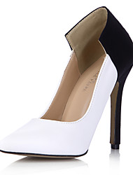 cheap -Women's Shoes PU Spring Fall Comfort Heels Stiletto Heel Pointed Toe for Office & Career Dress Black/White