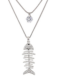 cheap -Women's Rhinestone Imitation Diamond Pendant Necklace  -  Fashion Double-layer Animal Silver Necklace For Party Daily