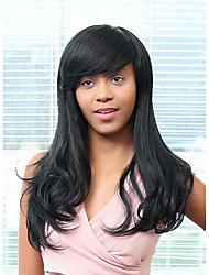parrucca di capelli eleganti frangia parziali capelli lunghi glamour umani