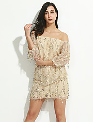 cheap -Women's Off The Shoulder|Sequin Going out Sexy Skater DressSolid Strapless Knee-length Sleeveless Beige Polyester Summer Mid Rise Inelastic