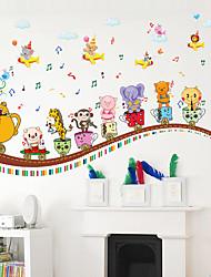 Kindergarten School Cartoon Animal Train Wall Stickers Fashion Happy Note Wall Stickers