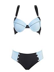preiswerte -Damen Patchwork Stirnband Bikinis Bademode solide Push-Up Blau