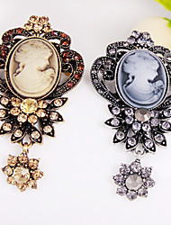 cheap -The Hollow Retro Beauty Head Flower Brooch Pendant Elegant Style