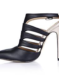 cheap -Women's Shoes PU Summer Slingback Heels Stiletto Heel Pointed Toe for Office & Career Dress Black