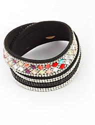 Femme Bracelets en cuir Cuir Strass Alliage Hip-Hop Bouton Rouge Bleu gris foncé Rose dragée clair Bijoux 1pc