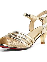 Damen Sandalen Frühling Sommer Herbst Kunststoff Kleid Party & Festivität Paillette Niedriger Absatz Gold Schwarz Silber 5 - 7 cm