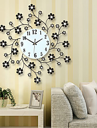 cheap -Pastoral Flower Iron Rhinestone Living Room Bedroom Watch Clocks Large Decorative Wall Clock Saat Horloge Murale