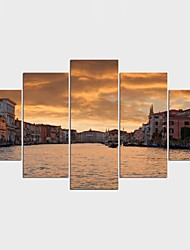 Stretched Canvas Print Landscape Leisure ModernFive Panels Canvas Any Shape Print Wall Decor For Home Decoration