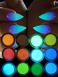 cheap -12 pcs Glitter & Poudre / Powder Chic & Modern / Glow-in-the-dark Nail Art Design Daily
