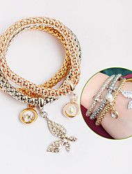 Women's Wrap Bracelet Leather Bracelet Pearl Leather Simulated Diamond Friendship Love Jewelry 1pc