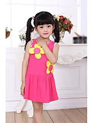 abordables -Vestido Chica de Floral Algodón Sin Mangas Verano Amarillo Rojo Azul
