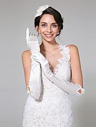 Ellenbogen Länge Fingerspitzen Handschuh Satin Brauthandschuhe