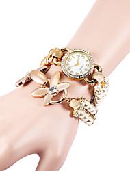 abordables -Femme Montre Diamant Simulation Bracelet de Montre Montre Tendance Quartz Imitation de diamant Plastique Bande A Perles Elégant Blanc Kaki