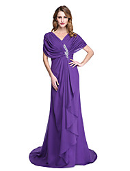 cheap -A-Line V Neck Court Train Chiffon Mother of the Bride Dress with Beading / Ruffles / Pleats by LAN TING BRIDE®
