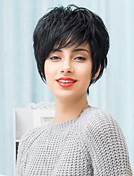 Fashionable Slightly Texture Short Capless Wigs Natural Wavy Human Hair 2017