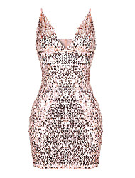Women's Sequin Casual/Daily Formal Simple Bodycon Dress,Solid V Neck Mini Above Knee Sleeveless Polyester Pink All Seasons Low Rise Micro-elastic
