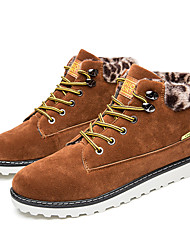 Men's Boots Winter Leatherette Outdoor Casual Flat Heel Lace-up Black Blue Light Brown Burgundy Walking