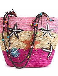 baratos -Mulheres Bolsas Palha Zíper / Bolsa de Ombro Jóias de Acrílico para Escritório e Carreira / Ao ar livre Azul / Rosa claro