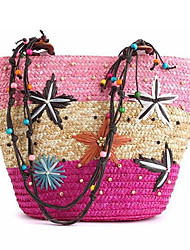 cheap -Women's Bags Straw Shoulder Bag / Zipper Acrylic Jewels Blue / Pink