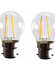 2W B22 LED Filament Bulbs G45 2 leds COB Dimmable Warm White 160-200lm 2700-3500K AC 220-240 AC 110-130V