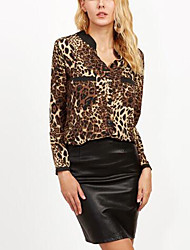cheap -Women's Daily Holiday Cute Sexy Spring Fall Shirt,Leopard V Neck Long Sleeves Polyester Medium