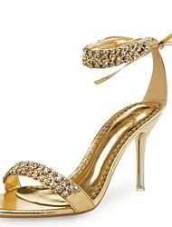 baratos -Mulheres Sapatos Couro / Gliter Sapatos clube Sandálias Salto Agulha Pedrarias / Flor de Cetim Dourado / Preto / Prata / Casamento