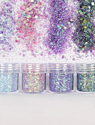 cheap -Nail Art 10ml Pink Purple Mixed Nail Glitter Powder Hexagon Shape Glitter Nail Powder Sheets Tips Nail Art Set