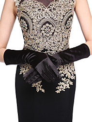 cheap -Satin Cotton Wrist Length Elbow Length Glove Charm Stylish Bridal Gloves With Embroidery Solid