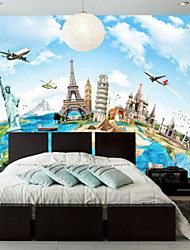 cheap -Art Deco Wallpaper For Home Wall Covering Canvas Adhesive required Mural Earth World Famous Buildings XXXL(448*280cm)XXL(416*254cm)XL(312*219cm)