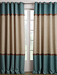 Rod Pocket Grommet Top Tab Top Double Pleat Two Panels Curtain Mediterranean Solid Living Room Polyester Material Curtains Drapes Home