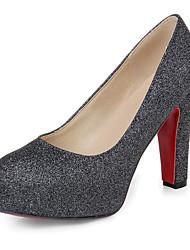 Feminino Sapatos Couro Ecológico Primavera Outono Conforto Saltos Salto Grosso Ponta Redonda Para Dourado Preto Prata Vermelho