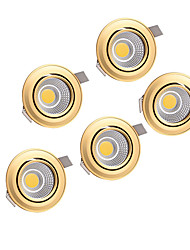 cheap -5pcs  5W COB 220-240V Golden LED Down Light Recessed Ceiling