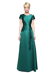 cheap -A-Line V Neck Floor Length Satin Bridesmaid Dress with Pleats Flower by LAN TING BRIDE®