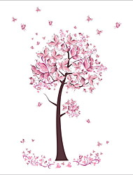 cheap -ZOOYOO® Pink Butterfly Tree Removable Wall Stickers Window Sticker Art Decals Mural DIY Wallpaper for Room Decal