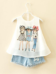 cheap -Girls' Daily Clothing Set, Rayon Polyester Summer Sleeveless Cartoon White