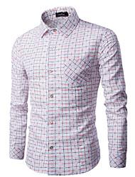 Herren Hahnentrittmuster Einfach Lässig/Alltäglich Hemd,Hemdkragen Langarm Blau Rot Weiß Lila Baumwolle