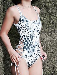 Women's Sexy Backless Straped One-piece Swimwear Cross Leopard Polyester/Spendex/Nylon White