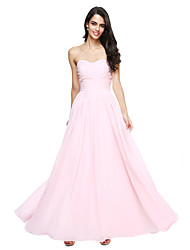 cheap -A-Line Sweetheart Floor Length Chiffon Bridesmaid Dress with Ruched by LAN TING BRIDE®