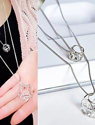 Недорогие -Женский Геометрической формы Геометрия Мода Двойной слой Ожерелья с подвесками Циркон Цирконий Стразы Сплав Ожерелья с подвесками ,