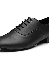 cheap -Men's Jazz Shoes Leatherette Heel Indoor / Performance / Beginner Low Heel Customizable Dance Shoes Black