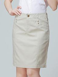 работа / плюс Женские размеры неупругое среды выше колена юбки (хлопок / лен)