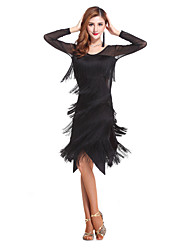 cheap -Latin Dance Women's Performance Spandex Tassel(s) Dresses Black