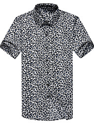 Men's Going out Work Plus Size Simple Street chic Spring Fall Shirt,Print Leopard Classic Collar Short Sleeve Cotton Polyester Thin
