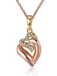 Femme Pendentif de collier Zircon cubique Forme de Coeur Zircon Plaqué Or Rose AlliageOriginal Pendant Amour Personnalisé Hip-Hop