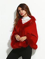 billige -Pelskrave,Dame Ensfarvet Vintage Frakke Imiteret pels