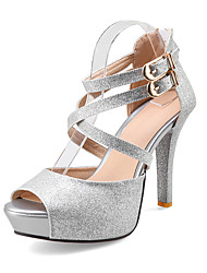 Women's Heels Spring Summer Fall Synthetic Wedding Dress Party & Evening Stiletto Heel Sequin Gold Silver