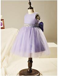 Vestido de baile vestido curto / mini flor menina - Organza manga sem mangas pescoço com beading por likestar