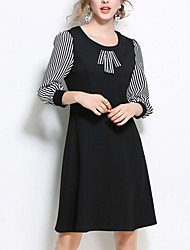Women's Work Casual/Daily Plus Size Vintage Simple Cute Sheath Dress,Striped Color Block Round Neck Above Knee Polyester Others All