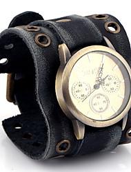 cheap -Men's Fashion Watch Wrist watch Quartz / Leather Band Casual Black